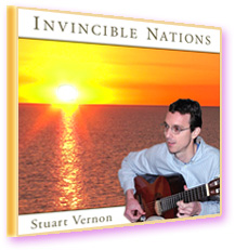 Stuart Vernon—Invincible Nations CD cover—The musician sihouetted against an ocean sunrise