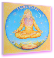 I Like to Fly CD cover art—lady in gold sitting in lotus position floating in the air